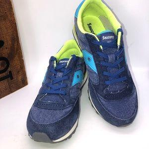 SAUCONY Boys Jazz Original Denim/Leather Lace Up Sneakers Kids Size 2.5